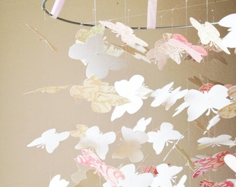 Shabby Chic Butterfly Mobile / / / Nursery Decor, Photo Prop, Baby Shower Gift, Crib Mobile