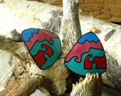 Colorful Abstract Pierced Earrings