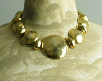 Hammered Goldtone  Choker  Necklace