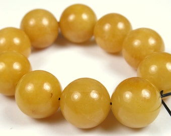 SALE - was 11.99 - Scrumptious Yellow Jade Round Bead  - 12mm - 10 Pieces -  B0972
