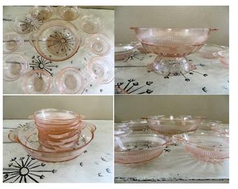 Anchor Hocking Coronation Pink Depression Glass Dessert Set Fruit Set Fruit Bowl Dessert Bowl