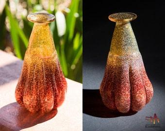 Unique Hand Blown Glass Bud Vase - Earthy Gold and Ruby with Ribs