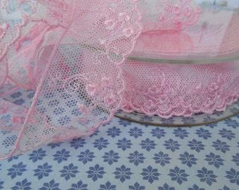 "Lace Pink Dentelle 1 1/4""width 3 yds"
