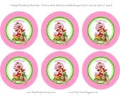 INSTANT Download STRAWBERRY SHORTCAKE doll Birthday Girl Party Thank you favor tags Vintage printable Instant download