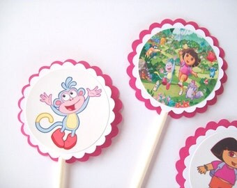 12 Dora The Explorer Cupcake Toppers/ Girl Birthday Party/ Cake Toppers/ Party Decorating