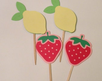Strawberry Lemonade Cupcake Toppers
