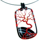 "Tree of Life Pendant - Dramatic Black and White Striped Agate Stone with Bright Red Wire - 1.5"" x 2.75"""