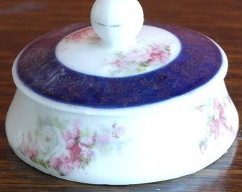 antique floral china lidded small dresser pot tinket pot