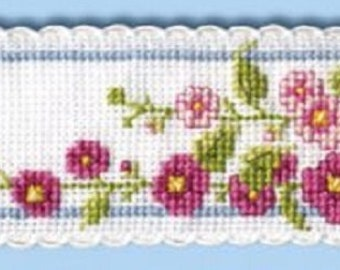 Textile Heritage Floral I Counted Cross Stitch Bookmark Kits in a Variety of Designs-Hollyhocks, Delphiniums, Fuchsia, LilyValley