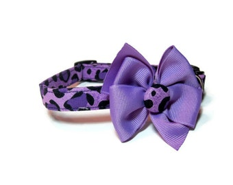 Purple Leopard Dog Collar size Extra Small