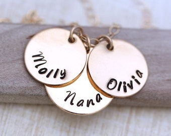 Personalized Mother's Necklace, Gold Mothers necklace,  Personalized Mother's Gift,  Hand Stamped Names, Gold Necklace, Three names