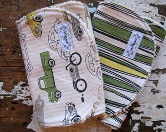 Boy Burp Cloths - Grey, Green and Yellow - Vintage Cars and Surfboards - Set of 2