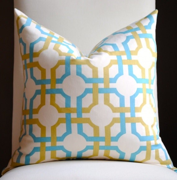 Decorative Pillow Cover -20x20- Waverly-Groovey Grille-Accent Pillow-Toss Pillow-Gold-Teal-White