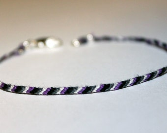 Asexual Demisexual ACE LGBT Pride Bracelet Fitted w/ Lobster Clasp