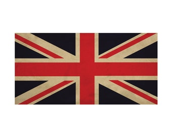 Vintage Union Jack British English United Kingdom Flag 28x14, digital file