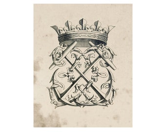 Crest of French Nobility 6, Peerage Insignia Emblems - 8x10 Digital Files to Download Print, Similar to Restoration Hardware, 16 available