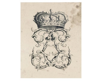 Crest of French Nobility 16, Peerage Insignia Emblems - 8x10 Digital Files to Download Print, Similar to Restoration Hardware, 16 available