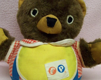 Fisher Price Bear Roly Poly Bear 1970s #719 Vintage Stuffed Baby Toy with Chimes Brown Bear Vintage Fisher Price  Baby Toddler Toy Chime