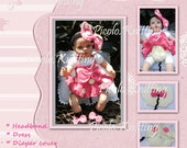 Minnie Mouse Outfit: Headband/tu-tu/DRESS/Diaper Cover/Barefoot Sandals Pink or Red