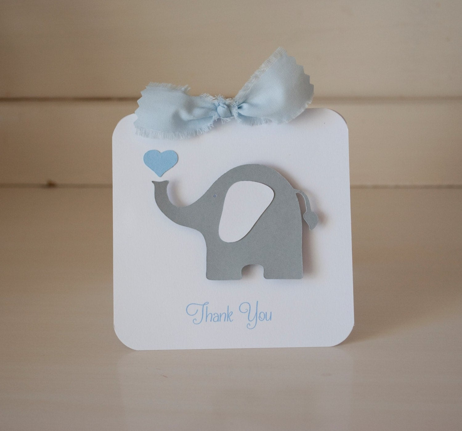40 Thank You Cards Baby Shower Blue Elephant