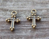 10 Tiny Bronze Cross Charms 14mm