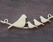 4 Silver Birds on Branch Connectors 6.7cm or 2.6 inches Antiqued Silver