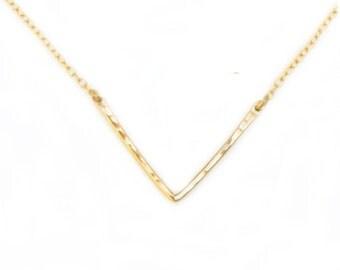 Gold V Necklace - Chevron Necklace