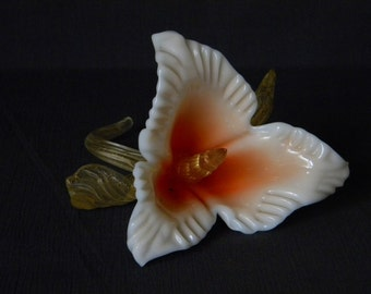Mid-Century MURANO Glass FLOWER Table Ornament SALVIATI Venice Camer Glass Label