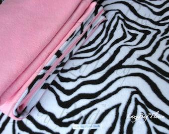 Baby Girl PacknPlay Sheet and Blanket Set 'Pink Zebra' Print Handmade Fleece Bedding Set for Children