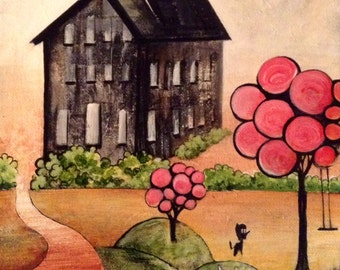 Original Art Farm House Dog Acrylic Painting