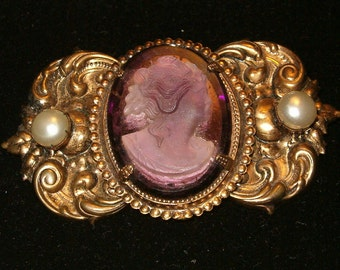 "Glass Cameo, Amethyst Lady, Brass Copper, 3 1/4""across x 2"", Found Warehouse Parts"