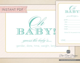 INSTANT PDF, Neutral Oh Baby Game, Baby Shower Sign and Cards, Guess Gender, Date, Time, Length, Weight, Printable, Download Now