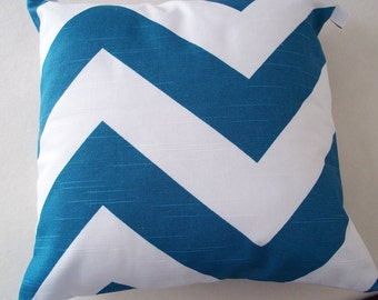 """White and Teal Chevron Throw Pillow Cover 14"""" Square"""