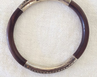 Antique Luen Wo Shanghai Sterling Silver and Wood Bracelet - FREE SHIPPING