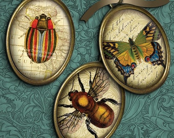 Steampunk Victorian Entomology with Antique Scroll, Script & Maps - 13x18mm Ovals - Digital Collage Sheet - Digital Download - Printables