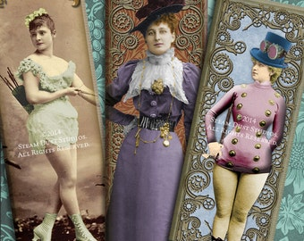 Victorian Steampunk Women Digital Collage Sheet - Hand-Tinted - 1x3 inch Microscope Slide Images - Steampunk Printables - Digital Downloads