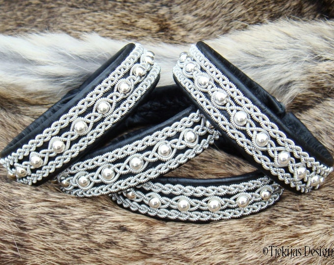 YDUN Swedish Sami Lapland Bracelet Nordic Viking Jewelry in Silksoft Black Reindeer Leather with Sterling Silver Beads Pewter Wire Braids