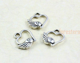 50Pcs Antique Silver Heart Charm Heart Wing Pendant 12x11mm (PND862)