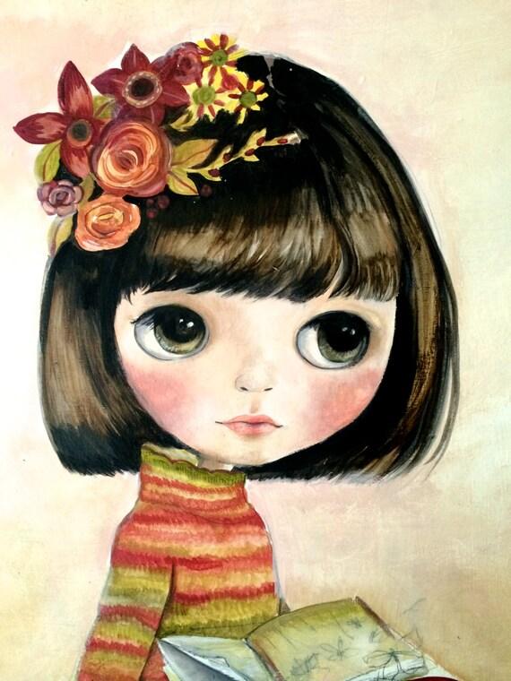 Blythe doll painting reader girl..