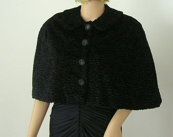 Vintage Style Black Persian Velvet Faux Fur Capelet Cape Stole Shawl Wrap Evening Wear - Ready to Ship