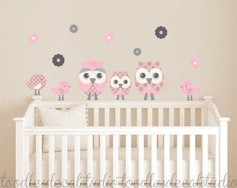 Owl wall decal, owl fabric decals, pink and grey decals, nursery owl decals, reusable wall decals for girls, girls wall decals, Owl Art