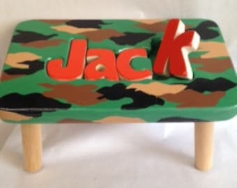 Hand painted Camo stool 6-8 letters