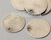 3 Antiqued SILVER Drops - 12mm Flat Round Blank STAMPING Disc Charm - Stamping Findings / Pendant / Coin - Instant Ship from USA - 5561