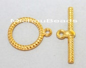 100 Bright GOLD 19mm TOGGLE Clasps - 16x19mm Ring w/ 26mm Bar Double Sided Twisted Rope Round Nickel Free Toggle - USA Discount Beads - 5763