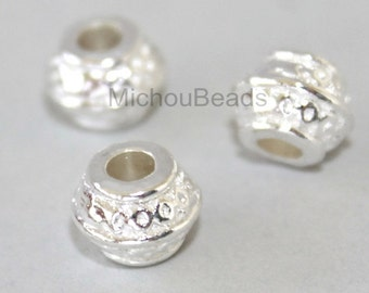 25 Bright SILVER 9mm Rondelle Tube Beads - 9x7mm w/ Large 3.3mm Hole Boho Nickel Free Metal Spacer Beads - Instant Ship from USA - 5682