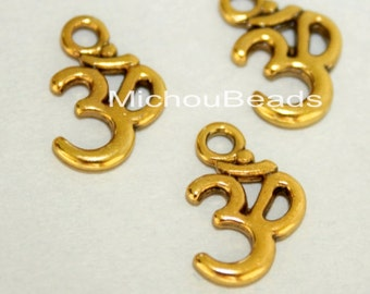 100 Antiqued GOLD OM Symbol Yoga Charms - 15x10mm Ohm Meditation Buddhist Symbol Nickel Free Charm Pendant - Instant Ship from USA - 5750