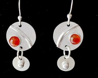 Sterling silver and carnelian earrings.