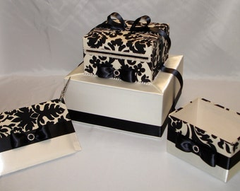 Elegant Damask Design Wedding Card Box-Guest Book and Pen-Program Box SET