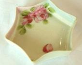 Vintage Nippon Trinket Dish Hand Painted Roses 50's (item 35)