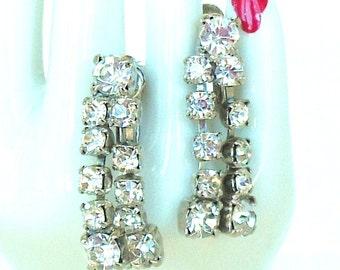 Vintage Rhinestone Screw Backs Silver Dangles 50's (item 177)